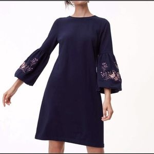 LOFT Navy Embroidered Bell Sleeve Dress